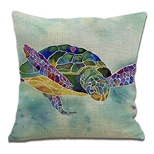 18 Inches Cotton Linen Square Throw Pillow Case Cushion Cover For Living Room Sea Turtles