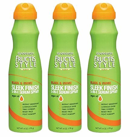 Set of 3 Garnier Fructis Style Shine Sleek Finish 5 In 1 Serum Spray Argan Oil 6Oz