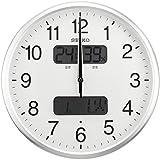 SEIKO CLOCK(セイコークロック) 温湿度計カレンダー表示つき電波アナログ掛時計(銀) KX383S