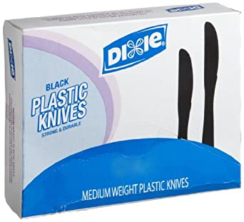 "Dixie KM507 Medium Weight Polystyrene Knife, 7"" Length, Black (10 Boxes of 100)"