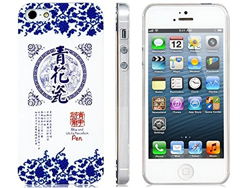 Mirrored Blue And White Porcelain Protective Case For Iphone 5 front-39785