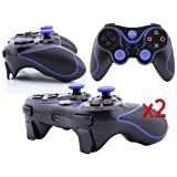 2 Pack Wireless Bluetooth Game Controller for Sony Playstation 3 PS3 - Black and Blue