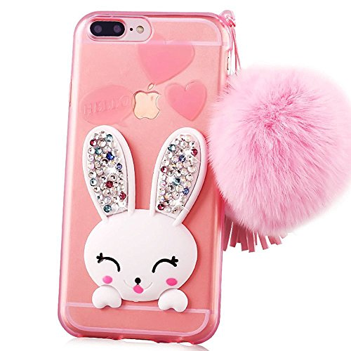 coque-iphone-7-plus-55-sunroyalr-transparente-3d-lapin-case-silicone-bunny-souple-tpu-cover-avec-fon