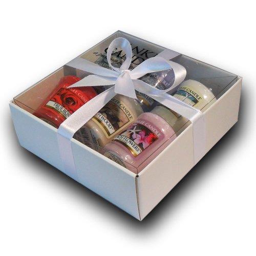 Yankee Candle Branded Votive Sampler Gift Set - (Incl. 5 NEW Scents for 2012: White Gardenia, Coastal Waters, True Rose, Beach Wood and Beach Flowers, PLUS Fluffy Towels) Gift Wrapped In Branded White Box, White Ribbon & Lilac Tissue