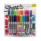 Sharpie Color Burst Permanent Markers, Ultra Fine Point, Assorted Colors, 24-Count