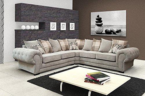 Best Price For Corner Sofa Verona Fabric Grey Brown Cream ...