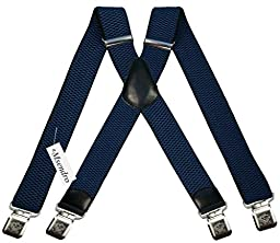 Mens Suspenders Wide Adjustable and Elastic Braces X Shape with Very Strong Clips - Heavy Duty (Blue)