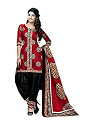 RR Fashion Women's Cotton Unstitched Dress Material (1004_red)