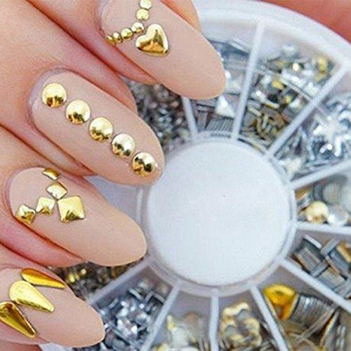 Sannysis® Fai da te punk Rivet Studs arte del chiodo decorazione metallica oro Nail Tips Adesivi