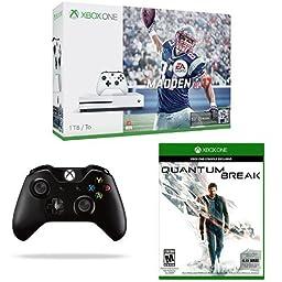 Xbox One S 1TB Console - Madden 17 Bundle + Black Xbox One Wireless Controller + Quantum Break