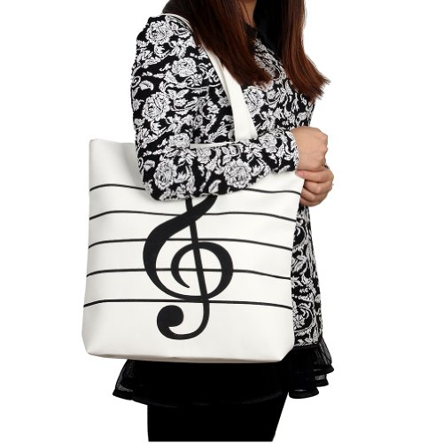 2013Newestseller Women'S Girls' Music Symbols Print Canvas Tote Shopping Handbags Shoulder Bags (White) front-178285
