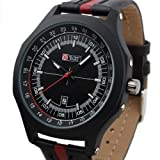 Brand New Mens Aiator Style Military Black Leather Band Quartz Army Watch MR071