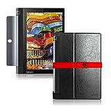 LOE(ロエ) Lenovo YOGA Tab 3 10 タブレット 専用 PUレザー スリム ケース (型番LYB669) 液晶保護フィルム付 (ZA0H0027JP/ZA0J0005JP用 ブラック)