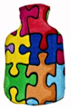 Warm Tradition PUZZLE PIECES FLEECE CHILDREN'S Covered Hot Water Bottle - Bottle made in Germany, Cover made in USA
