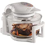 Andrew James 12 LTR Premium White Digital Halogen Oven Cooker With Hinged Lid + Easily Replaceable Spare Bulb + 2 YEAR WARRANTY + 128 page Recipe Book - Complete with Extender Ring (Up to 17 Litres), Cake/Rice Dish, Toast Rack, Baking Tray, Steamer Tray, Skewers, High And Low Racks 1400 Watts