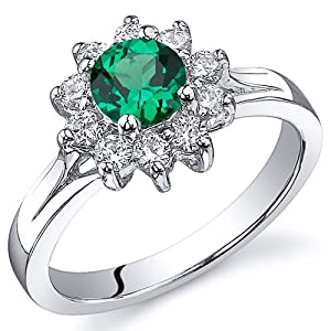 Ornate Floral 0.50 carats Emerald Ring in Sterling Silver Rhodium Nickel Finish Available Sizes 5 to 9 by Peora