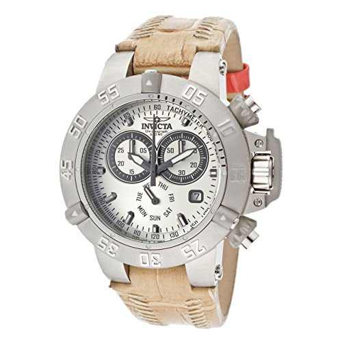 Invicta Women's 11622 Subaqua Chronograph Silver Dial Beige Leather Watch