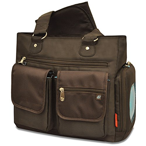 Fisher-Price Fastfinder Deluxe Fashion Diaper Tote, Brown Nylon
