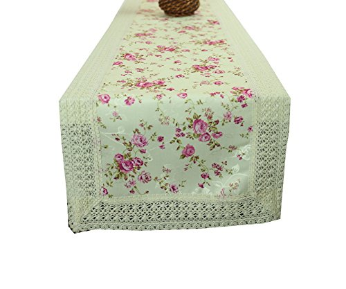 Floral Print Linen Table Runner Rose Lace Table Runner 70''
