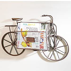 Bicycle with storage basket wall decor home - Decorative basket wall art ...