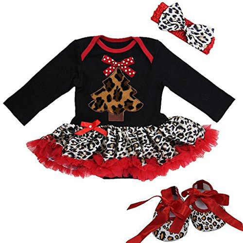 Baby Christmas Leopard Red Tree Bodysuit Tutu Crib Shoes Set