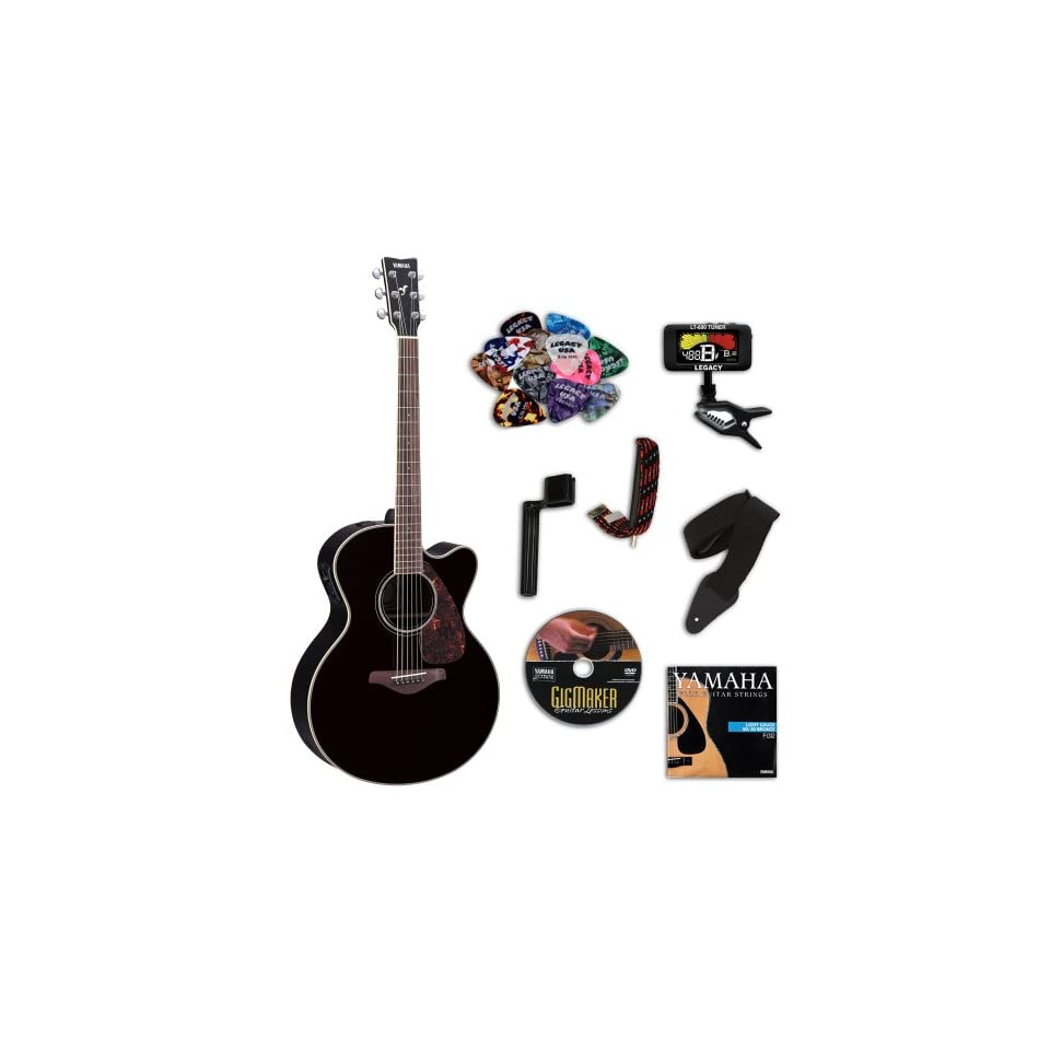 Yamaha FJX730SC Black Medium Jumbo Acoustic Electric Guitar Bundle w/Legacy Kit (Tuner,DVD, & More) Musical Instruments
