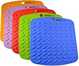 Set of (5) Aarcho Kitchen - Premium Flexible Silicone Pot Holders/Trivets, Durable, Non-slip Pads, Multiple Colors (Red, Green, Orange, Blue, Purple), Garlic Peelers, Spoon Rests, Multiple Uses