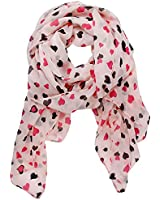 eFuture Sweet Love Heart Dots Chiffon Shawl Scarf Wrap With Keyring
