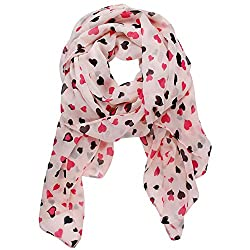 eFuture(TM) Pink Love Heart Dots Printing Chiffon Shawl Scarf Wrap Stole Muffler +eFuture's nice Keyring
