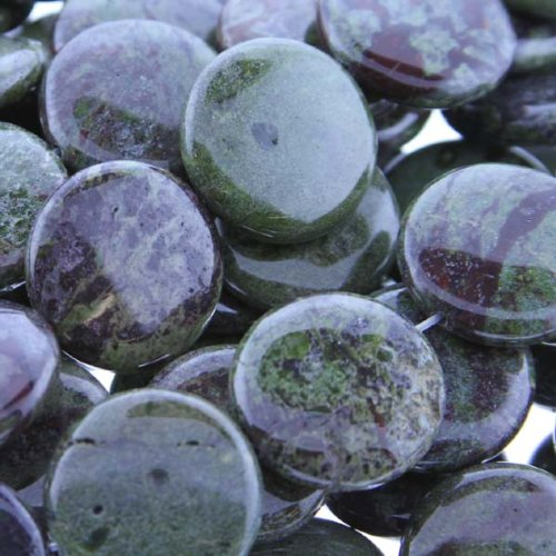 Dragon Blood Jasper : Coin-Puffy – 20mm Diameter, Sold by: 7 Inch Strand