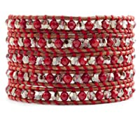 Chan Luu Red Coral Wrap Bracelet on Natural Brown Leather