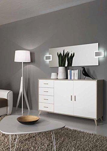 Ariel madia moderna contromobile con cassetti Design - Bianco