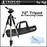 "Pro 72"" Super Strong Tripod With Deluxe Soft Carrying Case ForFuji Fujifilm Finepix S8200, S8300, S8400, S8500, SL1000, HS50EXR, FUJIFILM X100S, X20, XP60, T550, T560, T500, T510 digital Camera + ButterflyPhoto MicroFiber Cleaning Cloth"