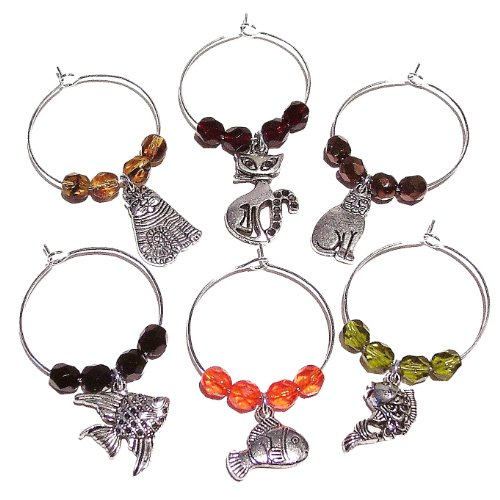 Czech Crystal Wine Glass Charms - Cats & Fish