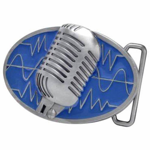 Blue Retro Vintage Microphone Belt Buckle Musician Music Lover