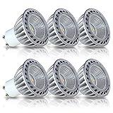 SGL MR16 GU10 LED Bulbs, 6W, 100% Aluminum Reflector, 50W Halogen Bulbs Equivalent, 500lm, Warm White 2700K, 40 Degree Beam Angle, CRI>85, 6-Pack