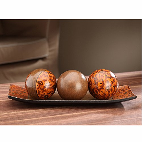 Hosley's Elegant Expressions Brown Decorative Bowl and Orb Set