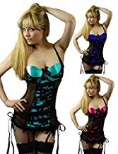 Yummy Bee Lingerie Babydoll Set Suspenders + Lace Stockings Plus Size 6 - 28