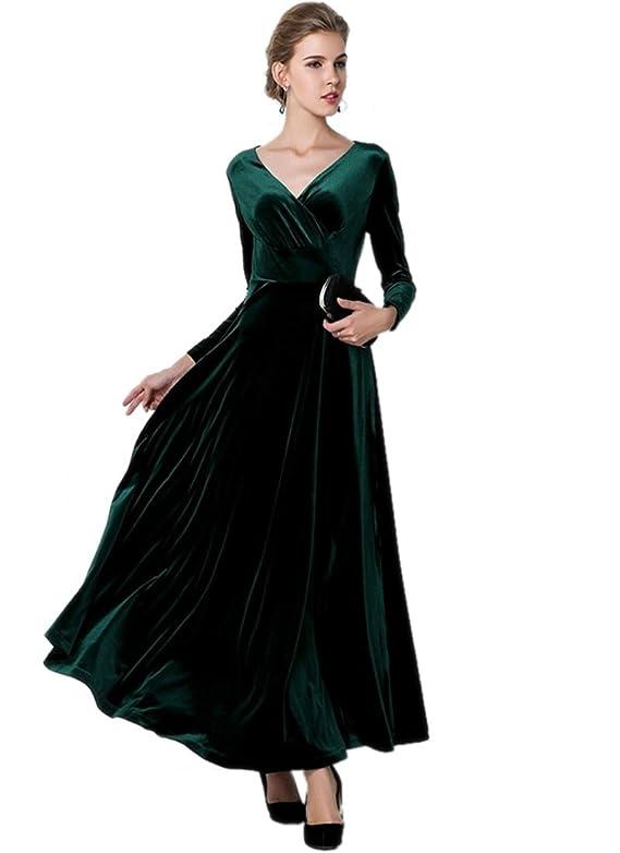 Medeshe Women's Emerald Green Christmas Long Velvet Maxi Dress