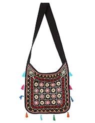 Rajrang Elegant Cotton Embroidered Circles Black Sling Bag