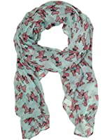 Bucasi Scottish Terrier Dog Print Scarf in Aqua and Pink