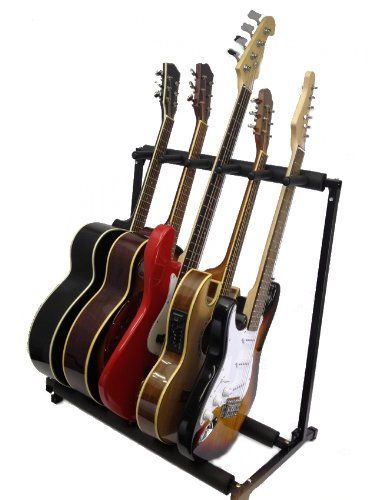 YMC Multiple Instrument Display Rack Folding Padded Organizer 5 Guitar Stand