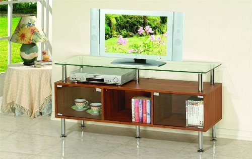 Cheap All new item Tempered glass top TV / Plasma/ LCD stand entertainment center with wood and chrome accents (AMB F4485)