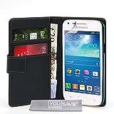 Yousave Accessories Samsung Galaxy Core Plus Tasche Schwarz PU Leder Brieftasche Hülle