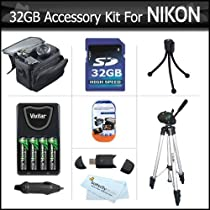 32GB Accessory Kit For Nikon Coolpix L100 L110 L120 L310 L810 L820 L620 L830 Digital Camera Includes 32GB High Speed SD Memory card + USB Card Reader + 4AA High Capacity Rechargeable NIMH Batteries And Rapid Charger + Case + Tripod + Screen Protectors ++