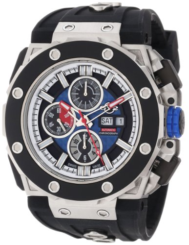 GV2 by Gevril Men's 8802 Corsaro Round Automatic-Chronograph Day-Date Sapphire Crystal Blue Dial Rubber Water-Resistant Watch