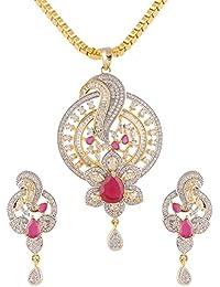 Swasti Jewels Peacock Shaped CZ Zircon Fashion Jewellery Set Pendant Earrings For Women
