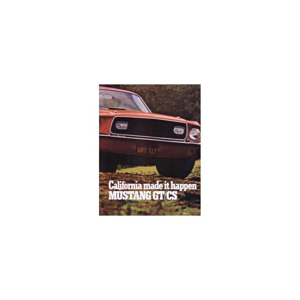 1968 FORD MUSTANG GT/CS Sales Brochure Literature Book