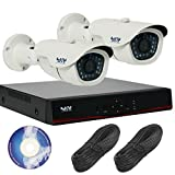 130万画素 屋外 防犯カメラ 2台 セット ( 自動録画 防水 防塵 暗視 動体検知 遠隔監視 対応) 安心の3年 保証 &30日間 返金保証 付き SET-A105