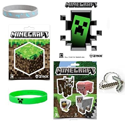 Minecraft Stickers Creeper Diamond Rubber Bracelet With Pickaxe Keychain Stocking Stuffer Gift Set Of 12 Items from MOJANG
